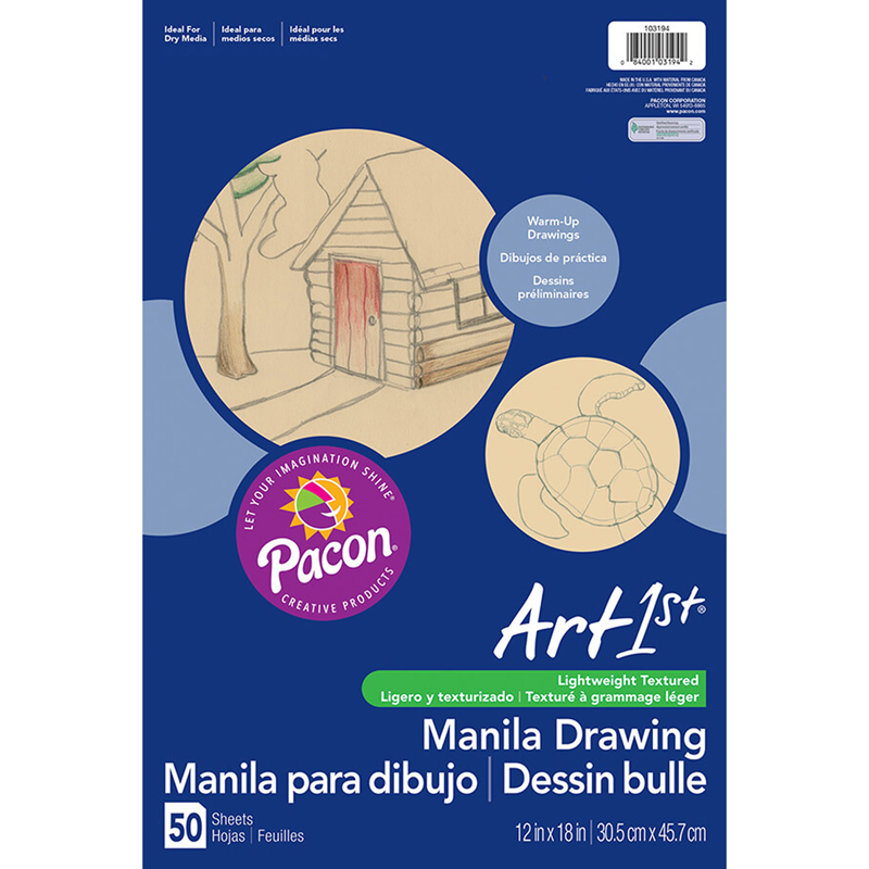 "Art1st Cream Manila Drawing Paper, 12"" x 18"", 50 Sheets"