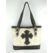 Accessories Plus MKC-5762 BO Handbag with Hair - On Cross & Studs, Bone