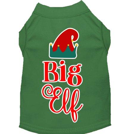 Big Elf Screen Print Dog Shirt Green Xl
