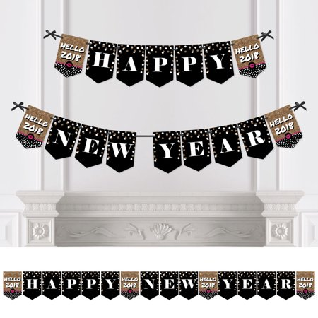 Pop  Fizz  Clink    2018 New Years Eve Party Bunting Banner   Gold Party Decorations   Happy New Year