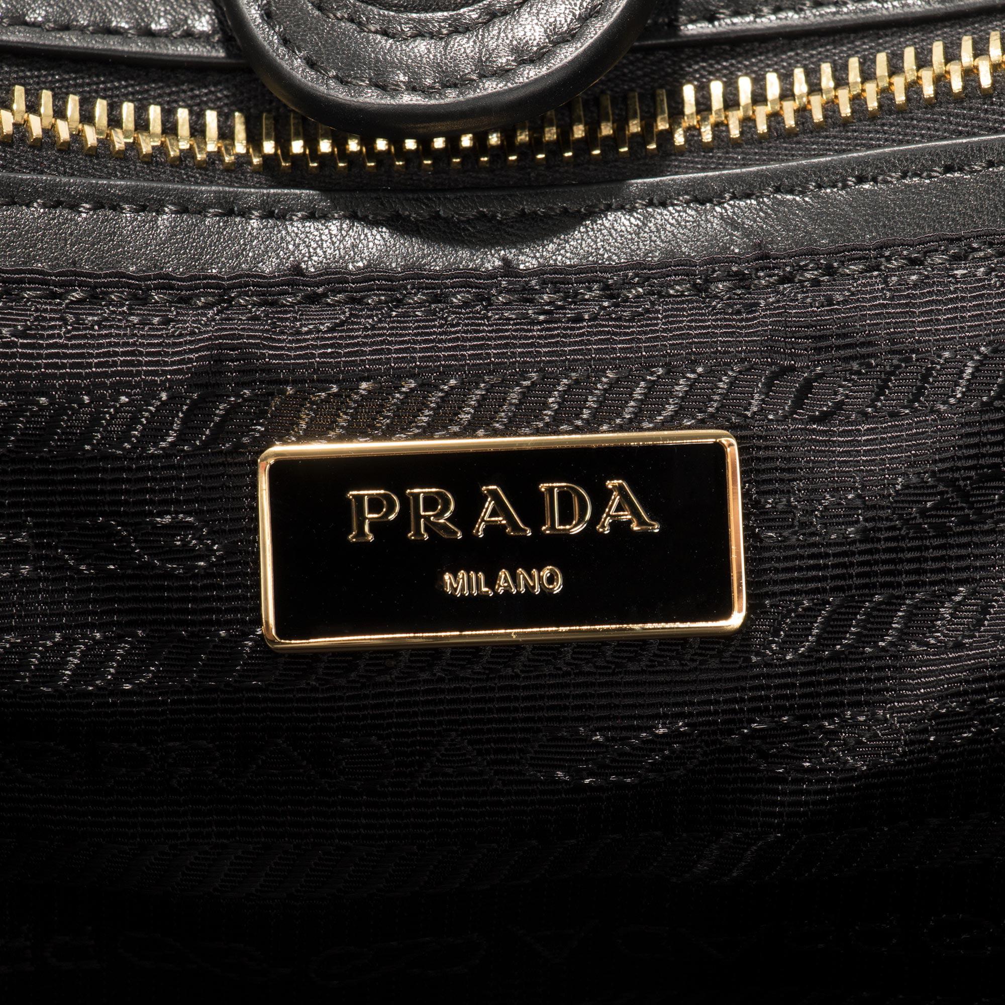 b174b34449 Prada Gaufre Fabric Handbag in Black - Walmart.com