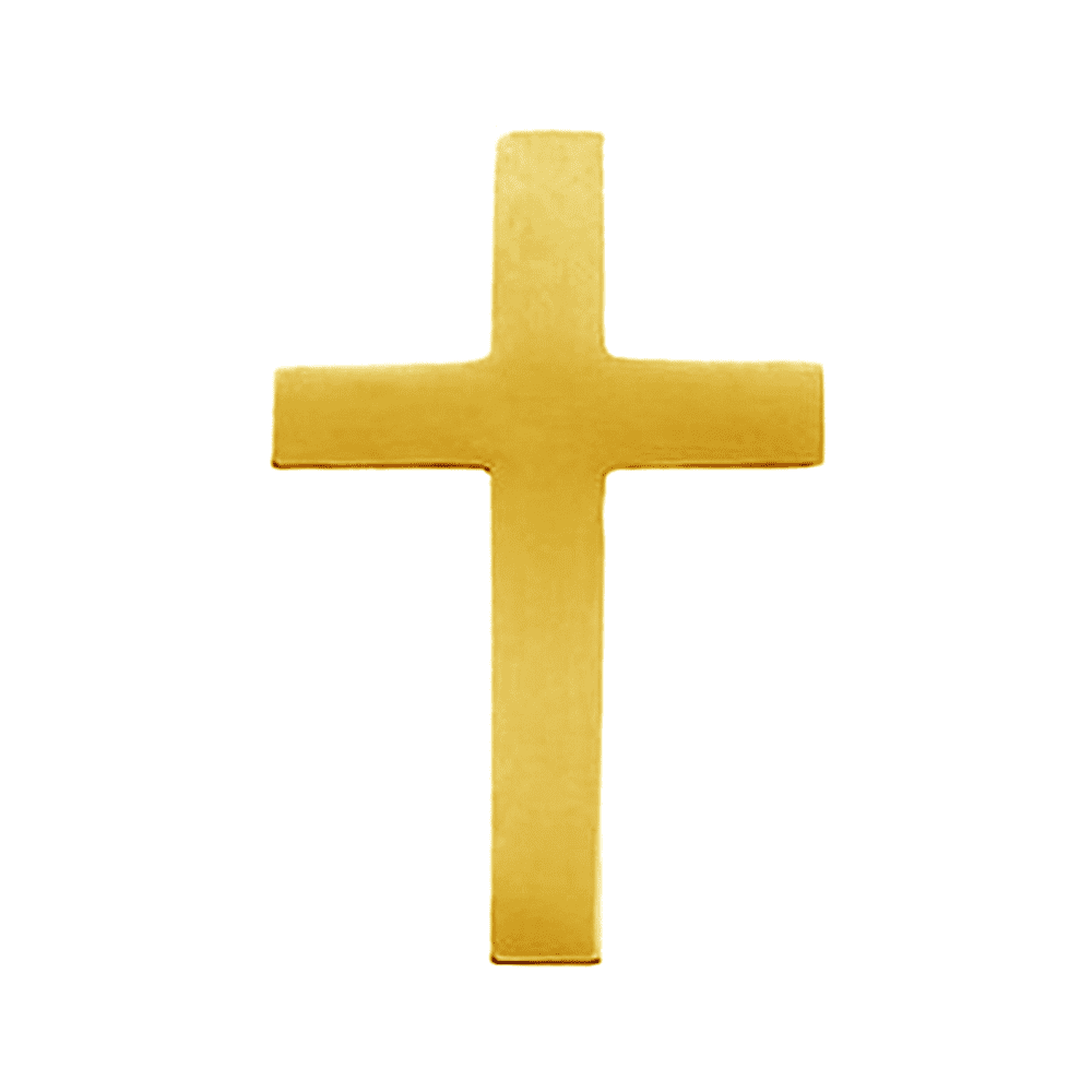 14K Yellow Gold Latin Cross Polished Pin Brooch by