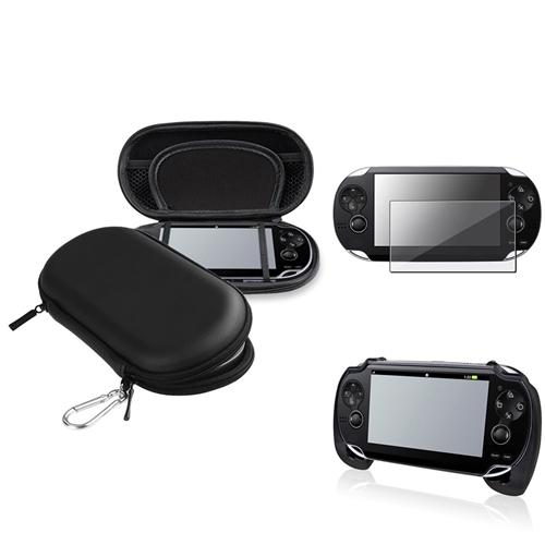 Insten Black EVA Case+Black Hand Grip+Clear Screen Protector For Sony PS Vita PSV