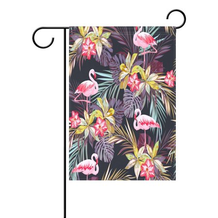 Popcreation Vintage Flamingo Bird Palm Leaf Garden Flag Outdoor Flag Home Party 28X40 Inches