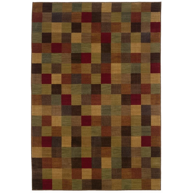 Sphinx Allure Area Rugs - 003A1 Contemporary Brown Squares Geometric Boxes Cubes Rug