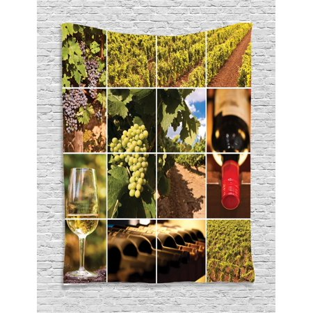 Vineyard Tapestry, Vineyard Landscapes Purple Grapes French Bottle Glass Rustic Cellar Couples, Wall Hanging for Bedroom Living Room Dorm Decor, Green Red Brown, by Ambesonne