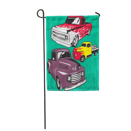 SIDONKU Pickup Vintage Hot Rod Trucks Antique Fire Clip Custom Garden Flag Decorative Flag House Banner 28x40 inch ()