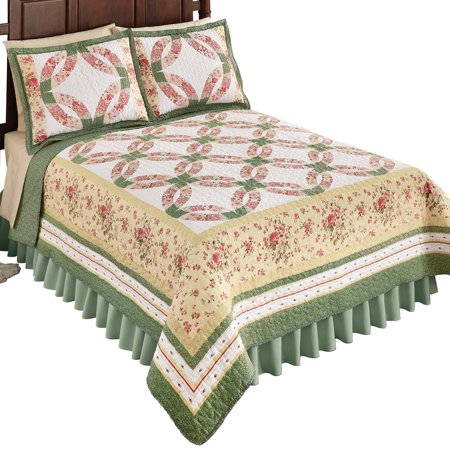 Reversible Shabby Chic Wedding Ring Cottage Floral Sage Bedding Quilt, Full/Queen, Pink Patchwork ()