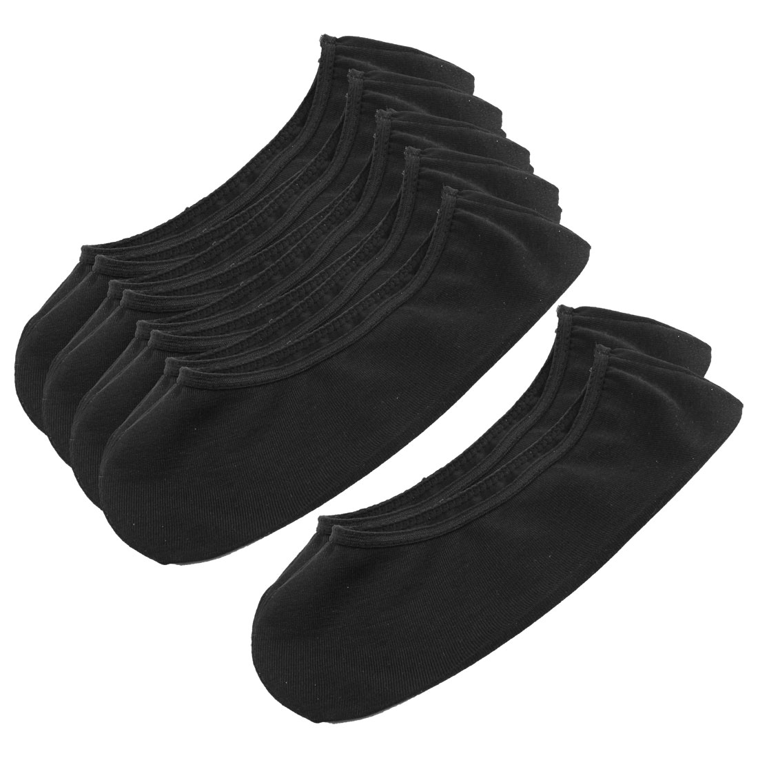 Women 5 Pairs Stretchy Low Cut Ankle Hosiery Footsie Boat Socks Black