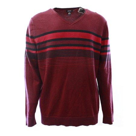Mens Classic V-neck Sweater - Alfani NEW Red Black Mens Large L V-Neck Pullover Stripe Knit Sweater $69 #253