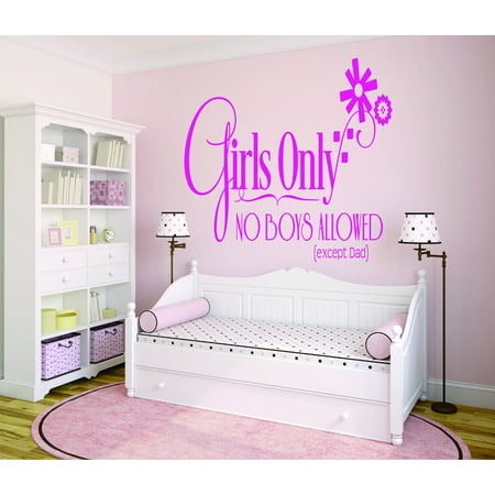 Girls Wall Decals - Custom Wall Decal Sticker : Girls Only No Boys Allowed (Except Dad) Bedroom Teen Baby 16x24 Inches