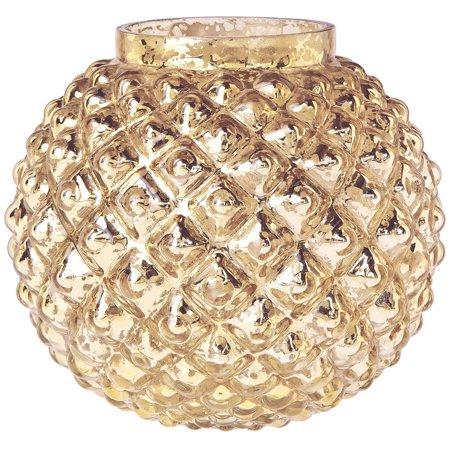 Vintage Mercury Glass Vase (5-Inch, Hazel Bubble Design, Gold) - Decorative Flower Vase - For Home Decor, Party Decorations, and Wedding Centerpieces ()