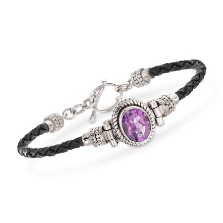 Ross-Simons 2.50 Carat Amethyst and Black Leather Toggle Bracelet in Sterling Silver Black Leather Toggle