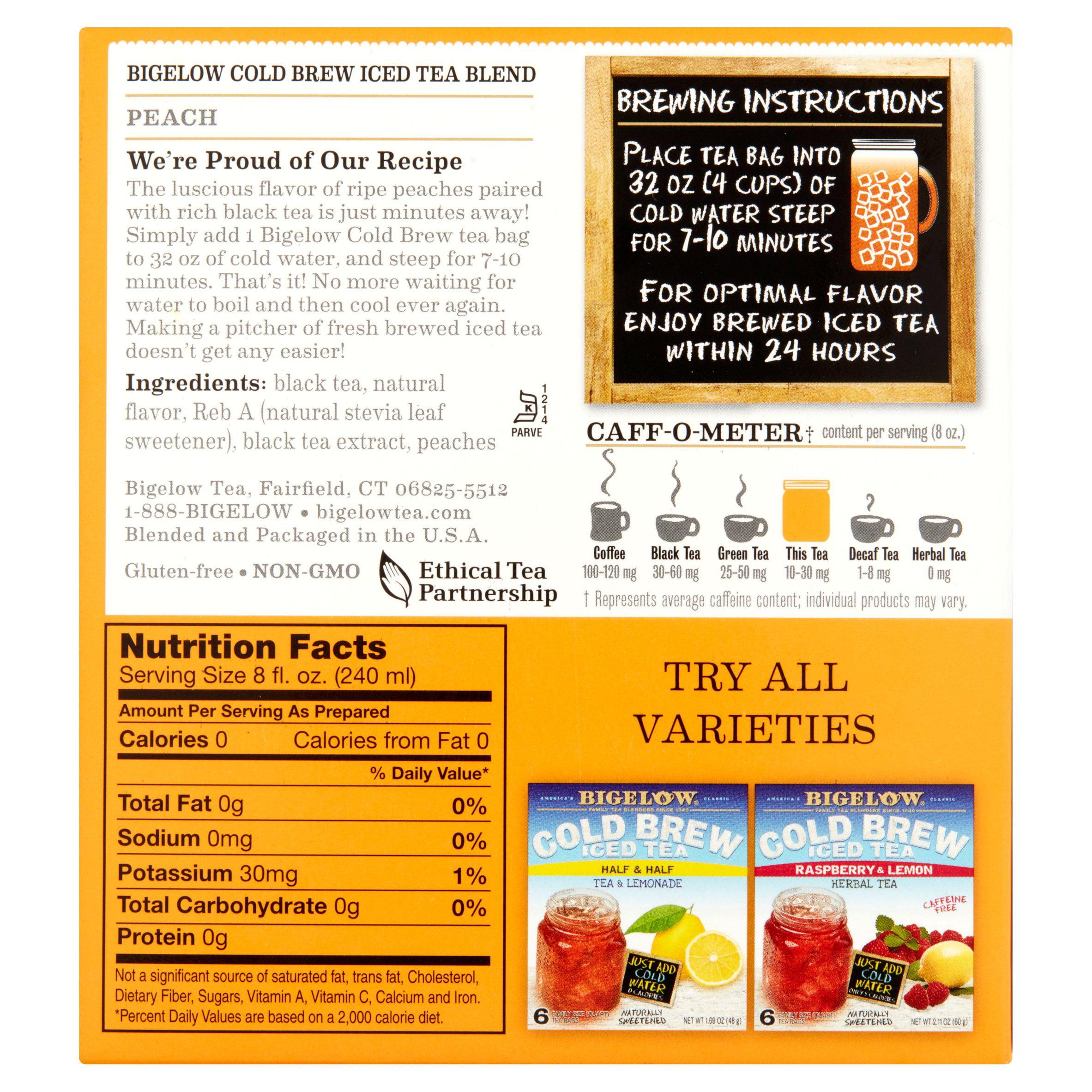 Bigelow herbal tea - Bigelow Cold Brew Iced Tea Peach Black Tea 6 Ct 1 69 Oz Walmart Com