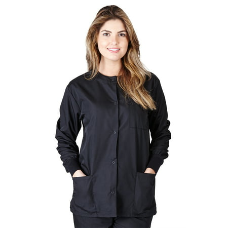 Natural Uniforms Medical Scrub Jacket G102 (Black, (Brother Scrubs Lab Green)