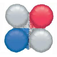 """Burton & Burton 30"""" Red Silver Blue Clover Balloon"""