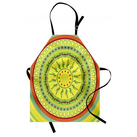 Southwestern Apron Wild West Cowboy Themed Mandala Design Colorful Circles Bull Horns Saguaro, Unisex Kitchen Bib Apron with Adjustable Neck for Cooking Baking Gardening, Multicolor, by Ambesonne