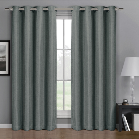- Gulfport Faux Linen Blackout Weave Grommet Window Curtain Panels (Single Panel)- 52x96 - Gray