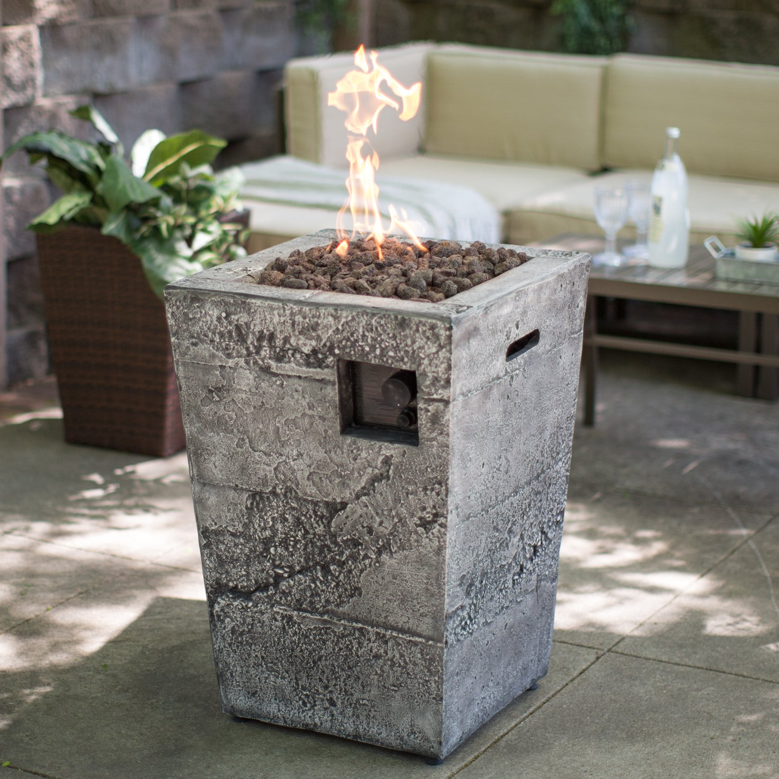 Red Ember Glacier Stone Gas Fire Column with FREE Cover