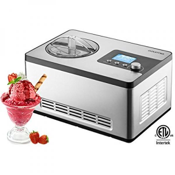 Gourmia GSI-400 Stainless Steel 2.2 quart SleekServe Automatic Ice Cream Maker-Gelato, Sorbet and Frozen Yogurt Machine with Built-in Compressor and LCD Digital Display, Silver