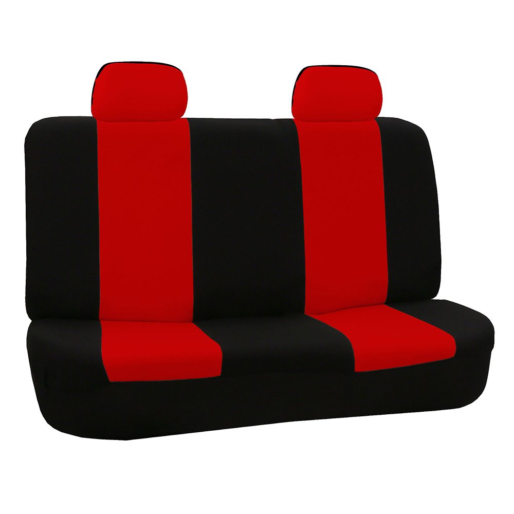 FH Group Universal Flat Cloth Seat Covers for Bench Seat, Red and Black