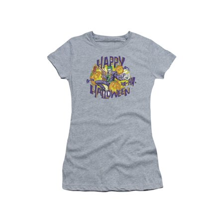 Batman Comic Book Superhero Icon Happy Ha Ha Halloween Joker Juniors Sheer Tee (Halloween Ha)