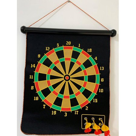 Elegantoss Double Sided, 2 in 1 Roll up Magnetic Dart Board & Bulls Eye Game with 6 pcs Safe Darts, Easily Hangs Anywhere Indoor Outdoor for Fun Games Roll One Eyes