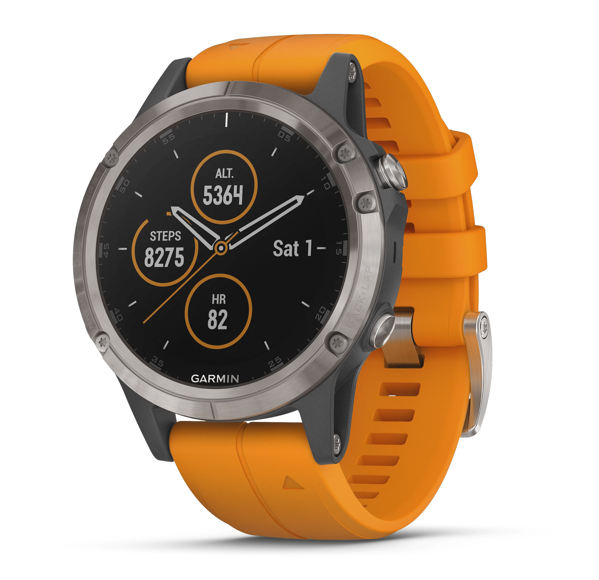 Garmin Fenix 5 Plus Sapphire, Titanium with solar flare orange band by Garmin