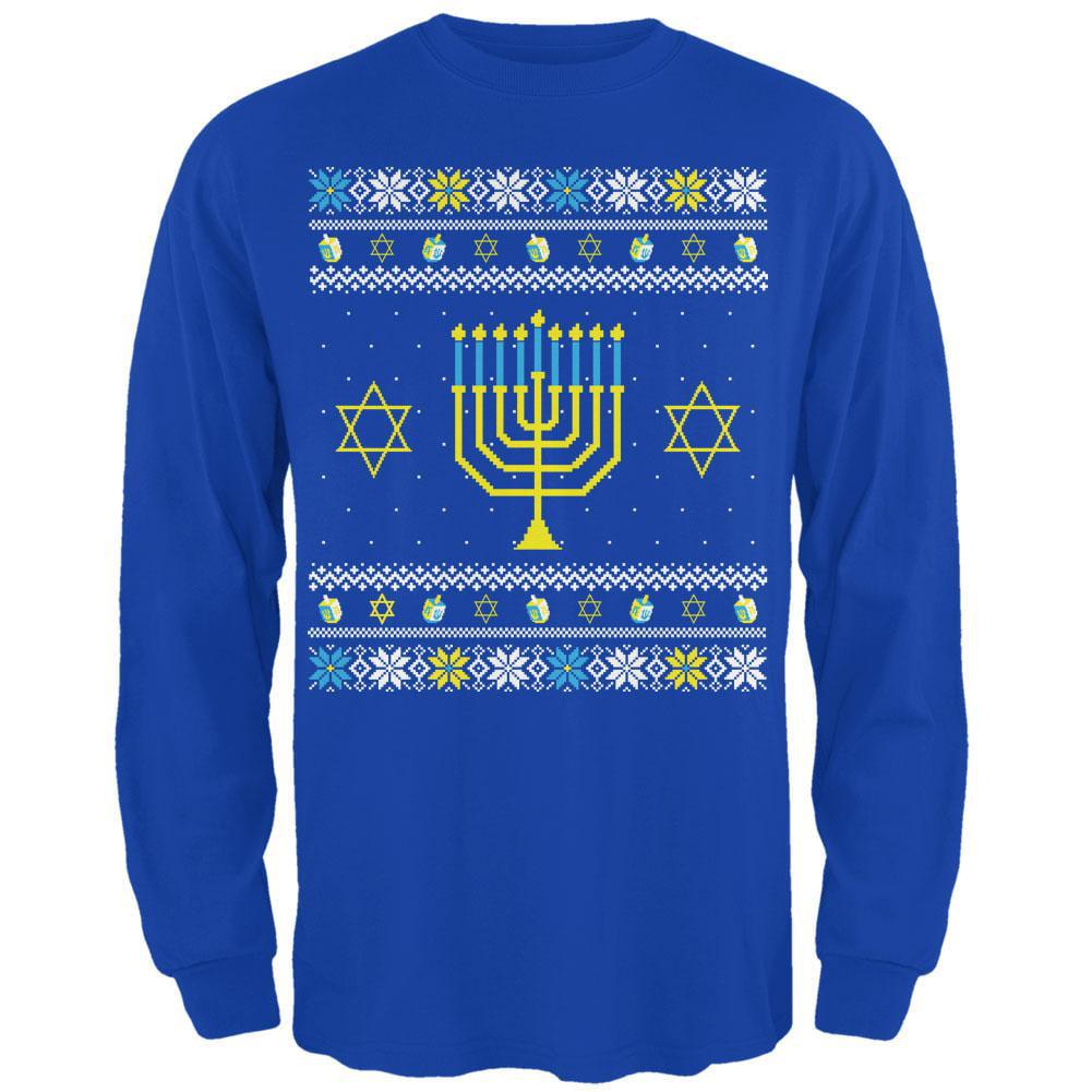 Menorah Ugly Hanukkah Sweater Royal Adult Long Sleeve T-Shirt