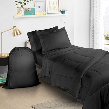 Clara Clark Twin XL Bed in A Bag 6pcs Bedding - Comforter Set, Black, College School Dorm Bedroom Value Essential Bundle, Includes Flat and Fitted Sheets, Pillowcase, Pillow Sham and Laundry Bag ()