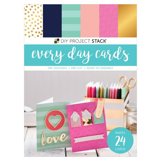 American Crafts DCWV DIY Card Project Stack - 24 Every Day Cards, 8 Shaker Cards - 4 Sets