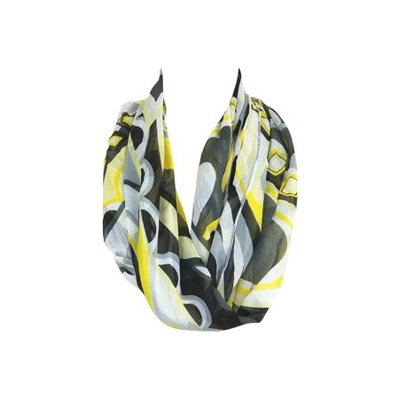 Amtal Women Yellow Black White Abstract Circle Design Chiffon Infinity Scarf