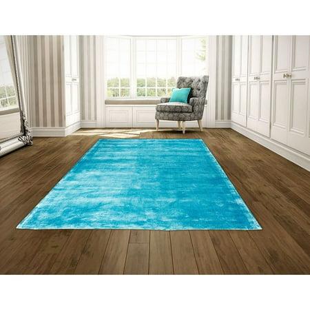 - LYKE Home  Hand Woven Sky Blue Viscose Area Rug (5' x 7') - N/A