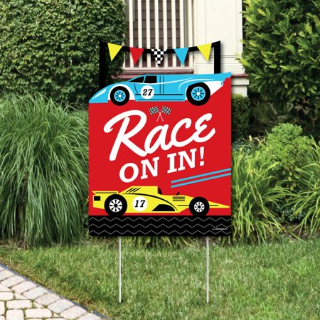 Let's Go Racing - Racecar - Party Decorations - Race Car Birthday Party or Baby Shower Welcome Yard Sign for $<!---->
