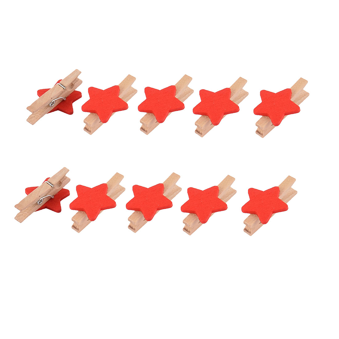 Star Pattern Card Photo Clothes Pegs Crafts Mini Wooden Clip Red 10pcs