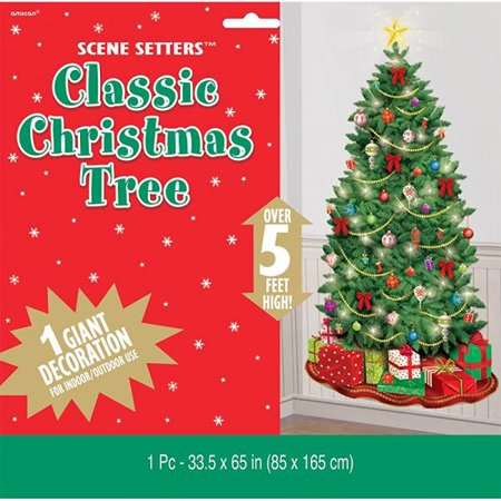 Amscan Classic Christmas Tree Giant Scene Setters Add‑Ons, Green, 65 X 33 - Christmas Sence