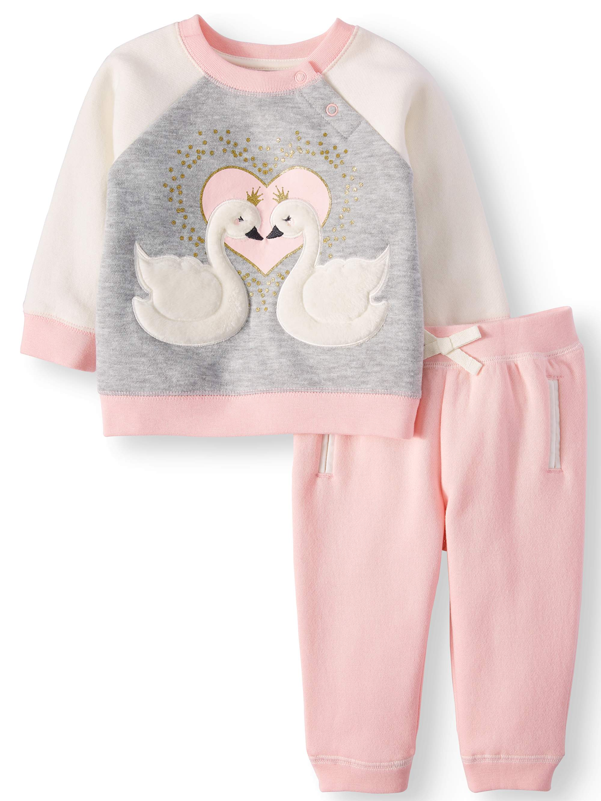 3D Interactive Sweatshirt & Jogger Pants, 2-Piece Outfit Set