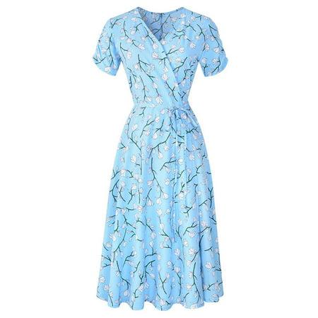 Nlife Women's V Neck Short Sleeve Floral Print Bohemian Pleated Midi Dress Black Pleated V-neck Dress
