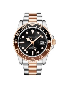 Stührling Original Ambassador Series: 3965.1 Men's Watch 2 time zone quartz GMT Dive Watch 10 ATM Magni-Date Window Stainless Steel Bracelet Swiss Quartz Movement
