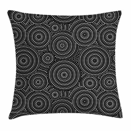 Black and White Throw Pillow Cushion Cover, Concentric Dotted Circles Inspired from Australian Aborginial Art, Decorative Square Accent Pillow Case, 18 X 18 Inches, Grey Black White, by