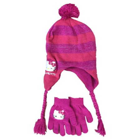 3f575e4db65 Hello Kitty - Girls Hot Pink Hello Kitty Cat Peruvian Trapper Hat   Gloves  Set - Walmart.com