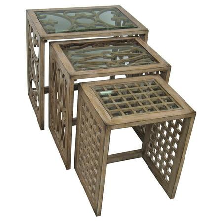 Pulaski Alternating Fretwork Nesting Table   Set Of 3