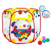 POCO DIVO 100-Play-Ball Polka Dot Ball Pit Twist Pool Popup Hexagon Mesh Play Tent