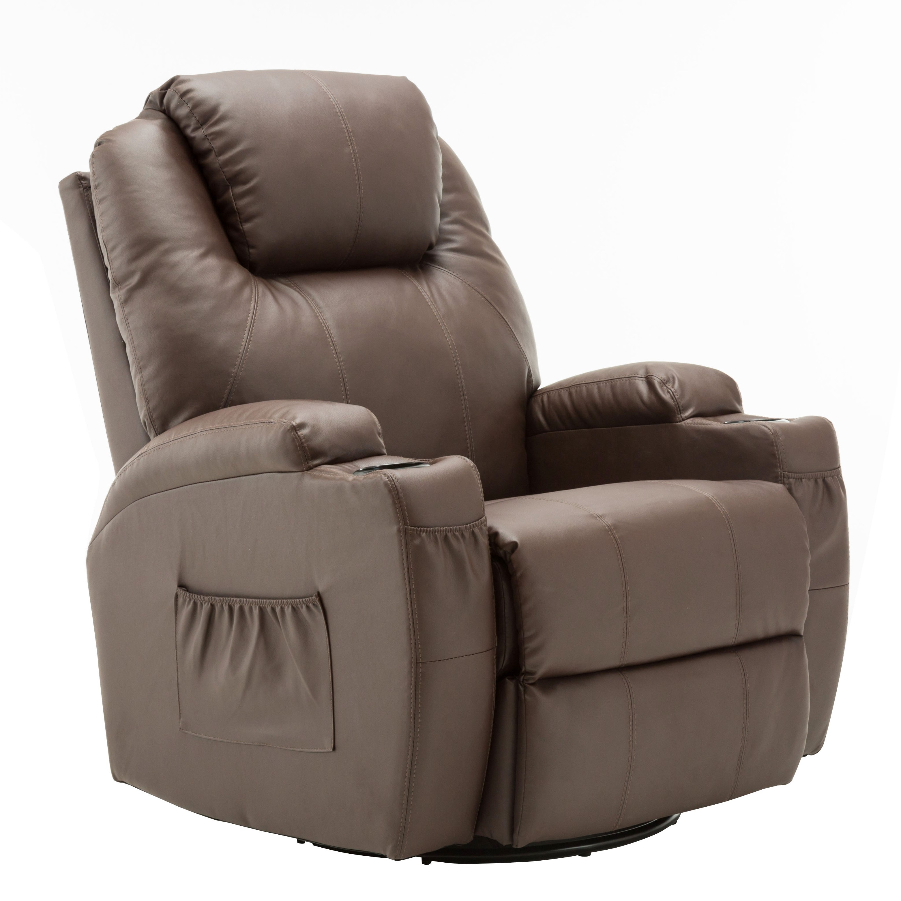 Massage Recliner Vibrating Sofa Heated Electric PU Leather Lounge Chair  8031 Brown