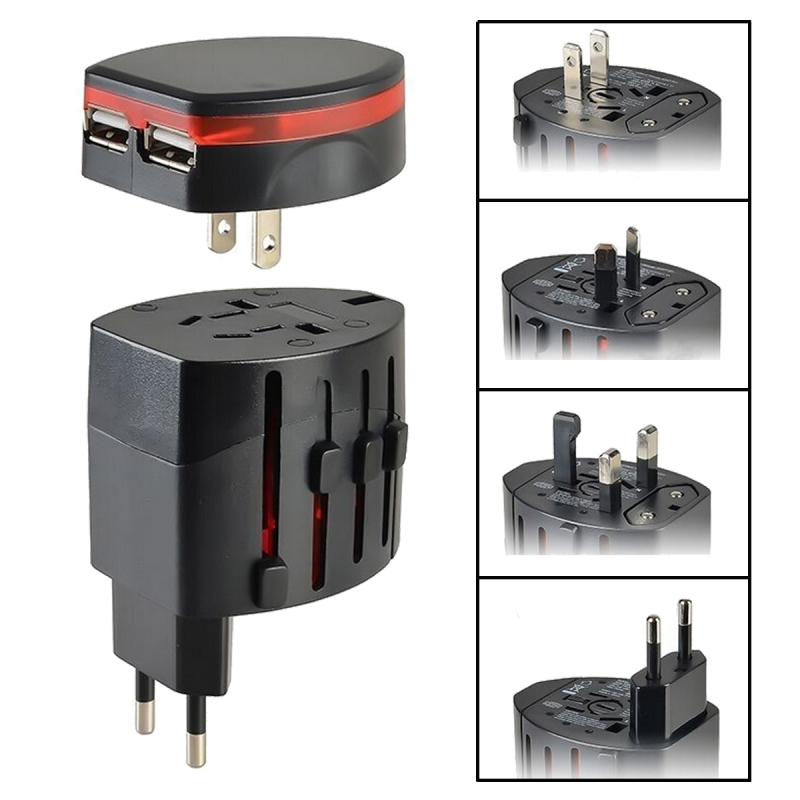 New Universal Power Adapter Electric Converter US/AU/UK/EU World USB Travel Plug Portable