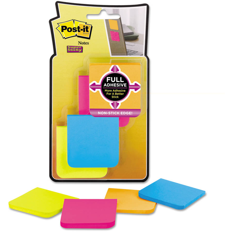 "Post-it Notes 2"" x 2"" Super Sticky Full Adhesive Notes, Assorted Bright Colors, 8-Pack"