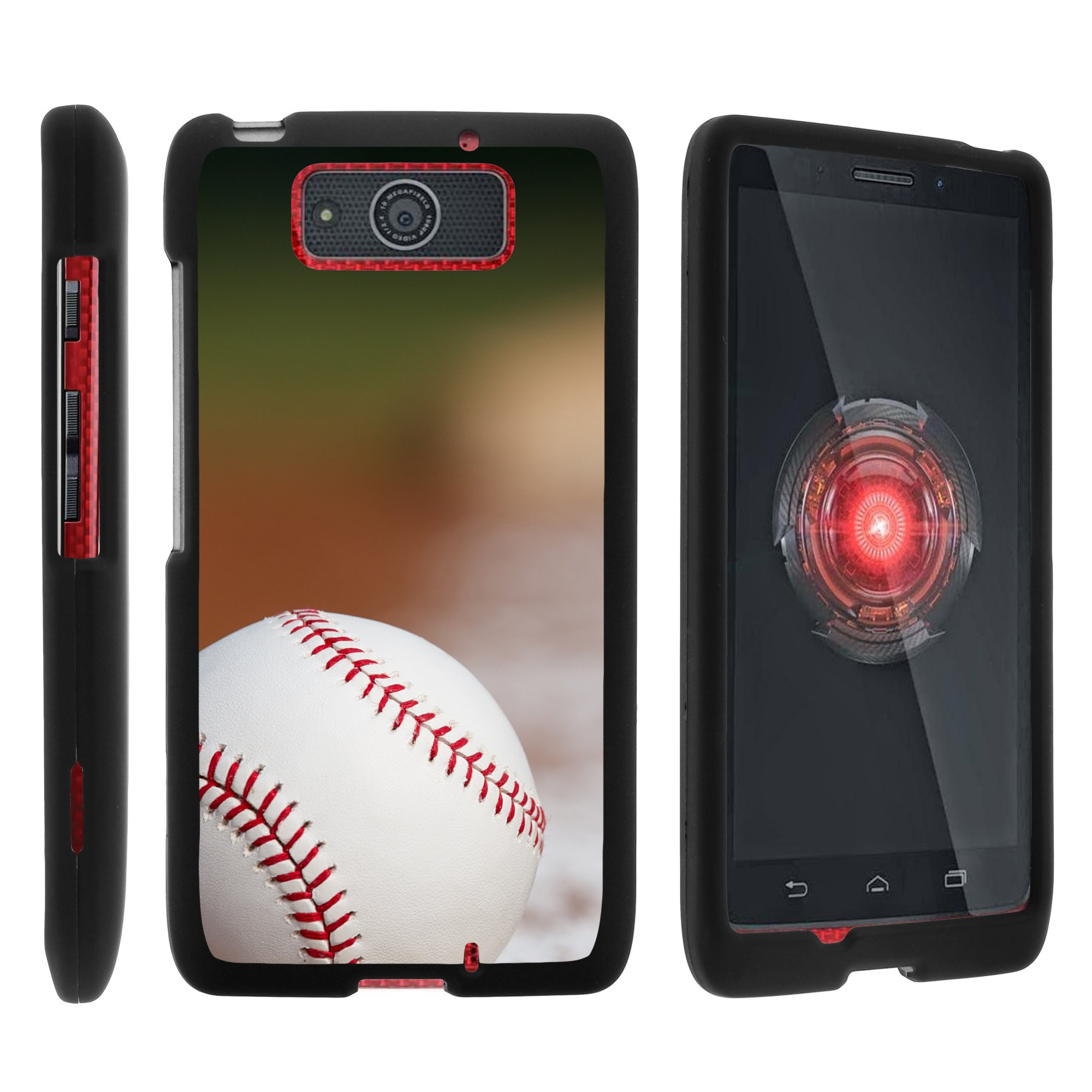 Motorola Droid Ultra XT1080 | Droid Maxx XT1080-M, [SNAP SHELL][Matte Black] Snap On Hard Plastic Protector with Non Slip Coating with Unique Designs - Baseball Blur