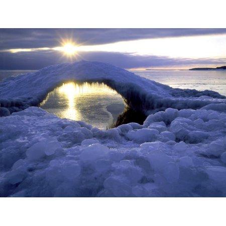 Ice Bridge on Shore of Lake Superior at Little Presque Isle, MI Print Wall Art By Willard