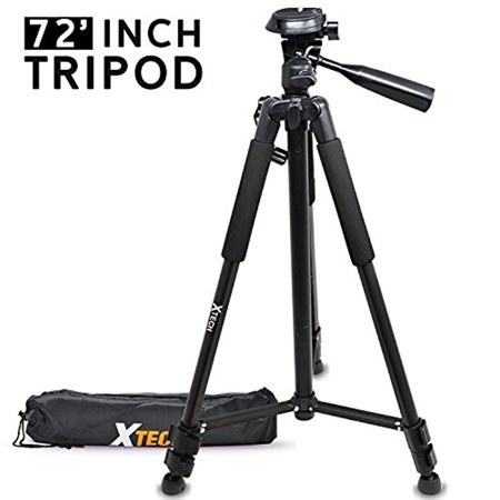 Xtech Pro Series 72' inch Tripod with Carrying Case, 3 way Pan-Head, for Nikon Coolpix A900, B500, B700, L340, L840, L830, W300, W100, P900, P610, AW130, AW120, S9900, S9700, S7000, S6900 (Pro 3 Way)