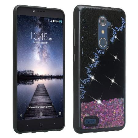 ZTE Zmax Pro Case, Luxury Bling Liquid Glitter Case, Sparkle Quicksand Case - Purple Lace - image 1 of 4